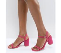 Sandalen mit Blockabsatz in Rosa