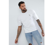 Kastenförmiges T-Shirt in Weiß mit Abnutzungen