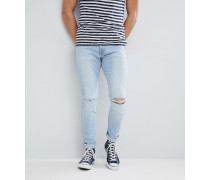 Clark Superlight - Schmale Jeans in Blau mit Zierrissen