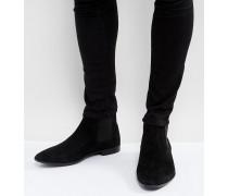 Chelsea-Stiefel aus schwarzem Wildleder weite Passform