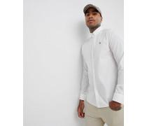 Geknöpftes Popeline-Hemd mit Stretchanteil in klassischer schmaler Passform mit kleinem Logo in Weiß