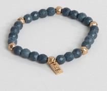 Marineblaues Perlenarmband mit Nadelstreifen