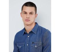 Jeans - Geknöpftes Jeanshemd mit Punktemuster in Dunkelindigo