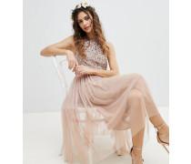 Ärmelloses Brautjungfern-Midikleid mit Pailettenoberteil Tüll und dekorativen Ausschnitten am Rücken
