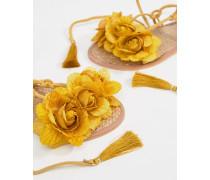Schnürsandalen aus Leder mit Quastendetail und Blumendesign