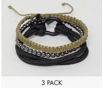 Armbänder im 4er-Set in Schwarz