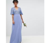 Langes Brautjungfernkleid mit Pailletten am Oberteil und Flatterärmeln