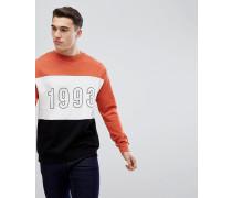 Sweatshirt in Orange mit Farbblockdesign und 1993-Print