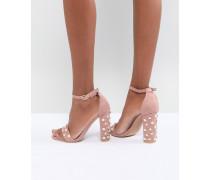 Sandalen mit Blockabsatz in Blush mit Perlenverzierung