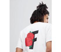 T-Shirt in Weiß mit Rosenprint hinten