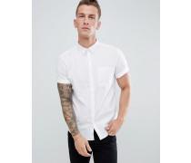 Regulär geschnittenes Leinenhemd in Weiß