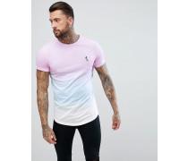 Lang geschnittenes T-Shirt in Rosa mit Farbverlauf und abgerundetem Saum