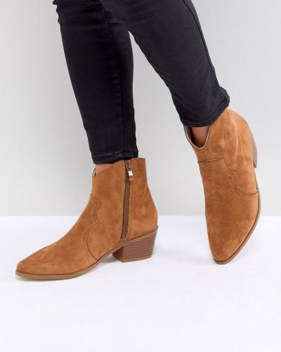 Boohoo Damen Ankle Boots mit Absatz im Western-Stil Brandneues Unisex Günstiger Preis Beste Verkauf Klassische Freies Verschiffen Beruf otHImS