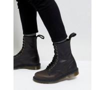 Hohe 10-Ösen-Stiefel in Schwarz