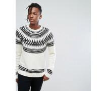 Pullover mit abgerundetem Norwegermuster auf der Schulterpartie