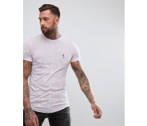 Lang geschnittenes T-Shirt in Lila mit abgerundetem Saum und Farbspritzer-Design