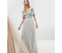 Kleid mit paillettenbesetztem Bardot-Oberteil Tüll-Detail und abfallendem Saum