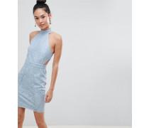 Hochgeschlossenes figurbetontes Kleid aus Spitze mit Zierausschnitten