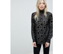 Hochgeschlossene Bluse in transparentem Metallic-Design mit Punkten