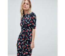 Exklusives figurbetontes Kleid aus Jersey mit Tulpenprint