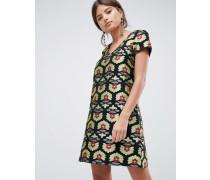 Kurzärmliges Jacquard-Kleid in A-Linie