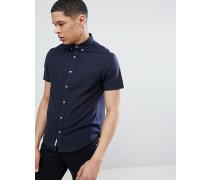 Schmal geschnittenes kurzärmliges Oxford-Hemd mit Button-Down-Kragen in Marineblau