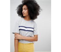 T-Shirt mit grauen Streifen vorn