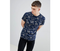 Marineblaues T-Shirt mit umgekehrtem Aufdruck