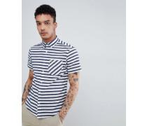 Kurzärmliges Button-Down-Hemd in Slim Fit mit Logo-Stickerei marineblau gesprenkelt