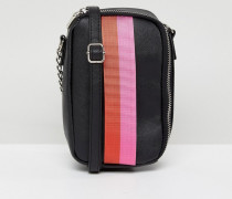 Rechteckige Mini-Handy-Tasche mit Gurtband in Kontrastfarben