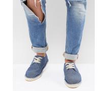 DESIGN Wide Fit - Espadrilles zum Schnüren aus jeansblauem Chambray