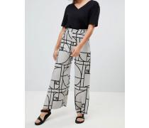 Hose mit weitem Bein und dekorativem Muster