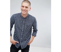 Jeans - Kariertes Button-Down-Hemd