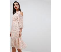 Kleid mit geschnürtem Neckholder und Lippen-Print