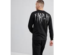 Langärmliges T-Shirt in Schwarz mit Print am Rücken