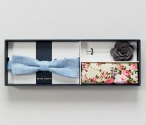 Set aus Fliege Einstecktuch und Ansteckblume
