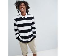 Exklusives gestreiftes Polohemd mit langen Ärmeln und Logo in Schwarz und Weiß