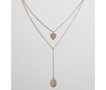 Mehrreihige Halskette mit Münzanhängern