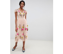 midi dress with floral embroidery in pink
