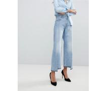 Hepburn - Kurz geschnittene Jeans mit hohem Bund und ungleichmäßigem Saum