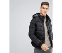Wattierte schwarze Jacke mit abnehmbarer Kapuze