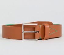 Hellbrauner Ledergürtel mit Neon-Innenseite