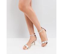 Silver - Filigrane Sandalen mit Kitten-Absatz