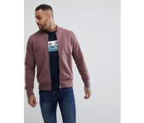 Bomber-Sweatshirt in Zwetschge mit Reißverschluss und Rundhalsausschnitt