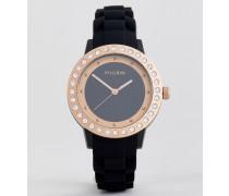 Uhr mit roségoldener Beschichtung und schwarzem Silikonarmband
