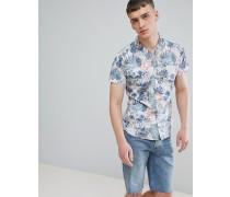 Schmales Hemd mit Reverskragen und Dschungel-Print auf der Innenseite