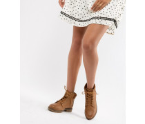 Lace Up Biker Flat Ankle Boot