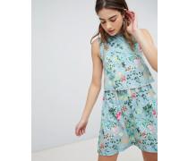 Celeste - Zweilagiges geblümtes Kleid mit Bommelbesatz