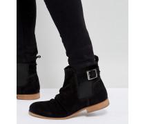 Chelsea-Stiefel mit Schnalle aus schwarzem Wildleder