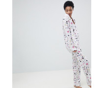 ASOS DESIGN Tall - Pyjamaset aus 100% Modal mit Weltraummuster